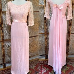 Vintage 1960s Pink Lace Chiffon Dress With Train